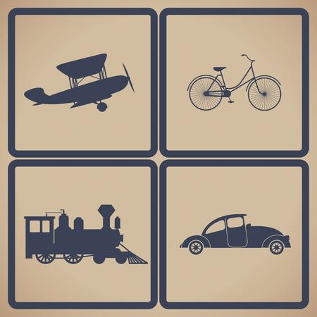 black train: Vintage trasportation set. Steam train, aircraft, cars, bicycle. Illustration