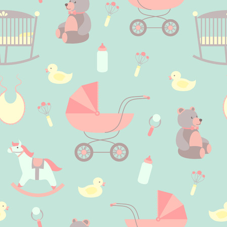シームレスな赤ちゃんの背景。よだれかけロッキング馬、テディベア、ベビーカー、アヒル。