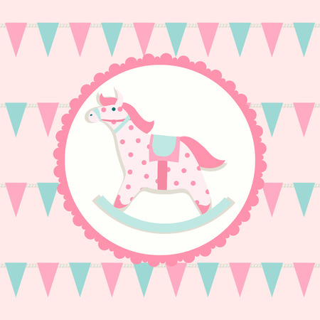 Children illustration with rocking horse Vector