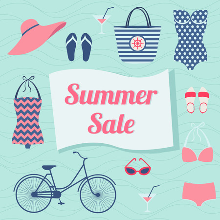 Summer sale. Vector background with beach accessories Vector