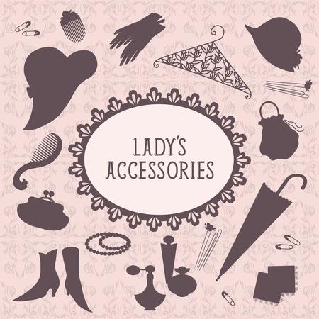 Vintagestyle ladies accessories set Vector