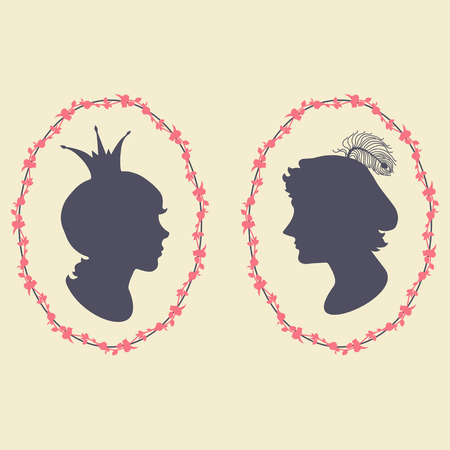 realm: Prince and princess vector silhouette portraits in floral frame