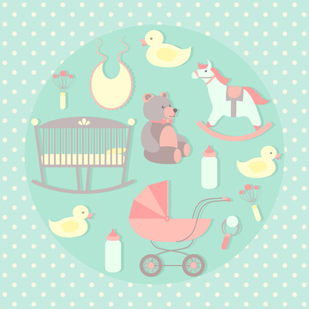 Baby care set. Rocking horse, teddy bear, stroller, duck, bib. Vector