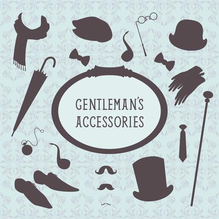 Vintage style set of gentleman accessories Vector