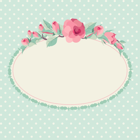 Vector floral background with oval frame