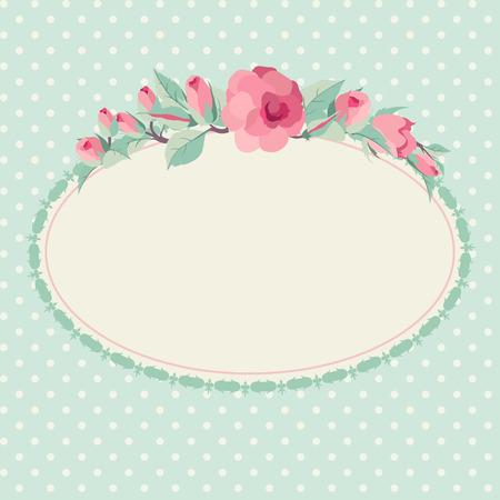 ovalo: Vector floral de fondo con el marco oval