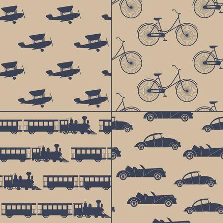 motor coach: Vintage trahsportation. Set of vector backgrounds