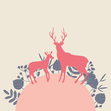 deer antlers: Two deers in forest landscape. Colorful vector illustration