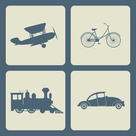 Vintage trasportation set. Steam train, aircraft, cars, bicycle. Vector