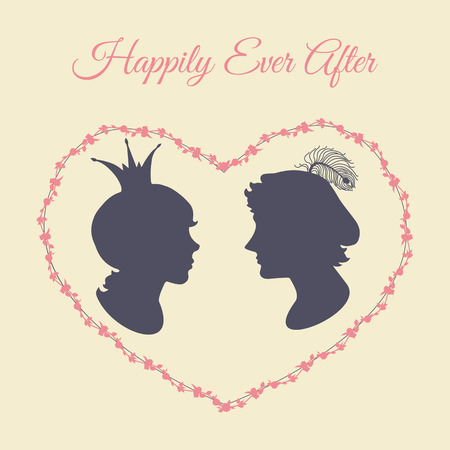 realm: Prince and princess vector silhouette portraits in heart shaped floral frame Illustration