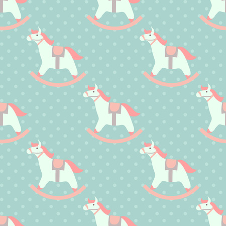 babys: Cute babys seamless pattern with rocking horses