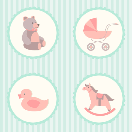 Baby care set. Rocking horse, teddy bear, stroller, duck. Vector