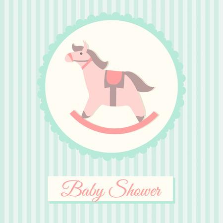 schommelpaard: Baby douche uitnodiging kaart sjabloon met hobbelpaard