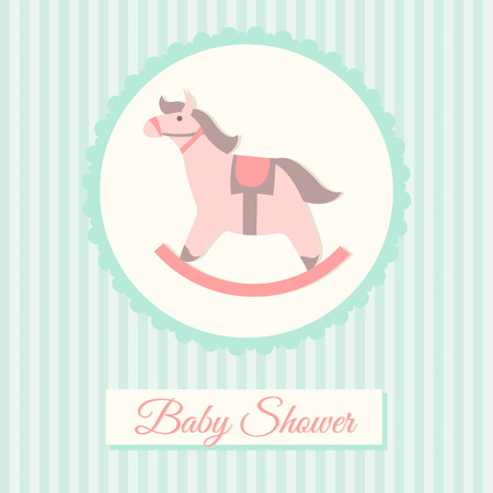 Baby shower invitation card template with rocking horse Vector