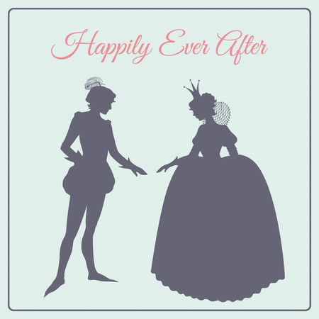 realm: Happily ever after. Prince and princess vector silhouettes Illustration