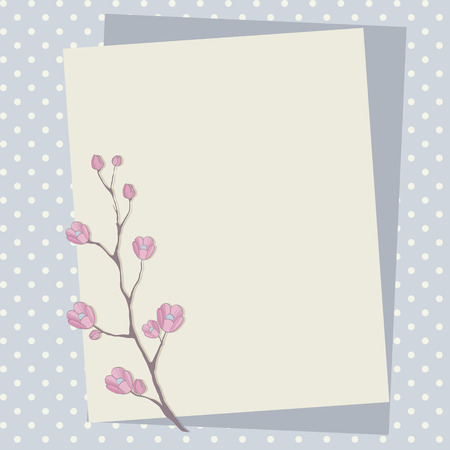 Scrapbook background with blossomed twig. Vector floral illustration