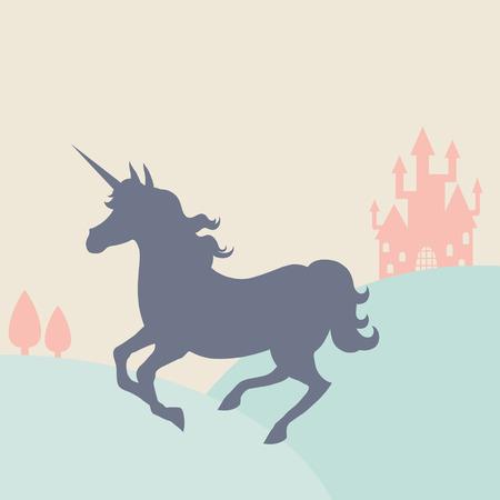 Galloping unicorn silhouette in the landscape Vector