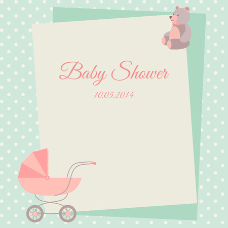 baby boy announcement: Baby shower invitation card template with stroller and teddy bear