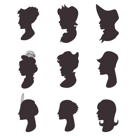 woman profile: Set of isolated woman profile portrait silhouettes