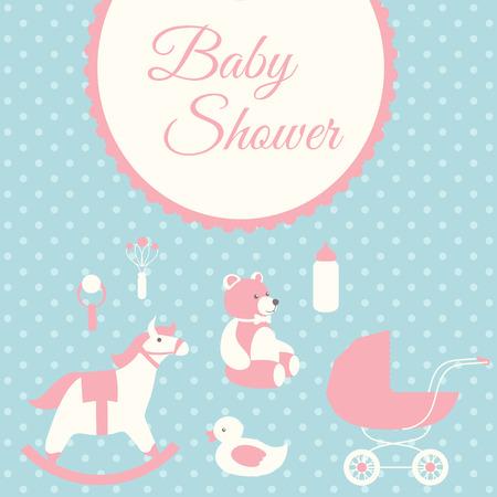 Baby shower invitation card template. Rocking horse, teddy bear, stroller, duck, bib. Vector