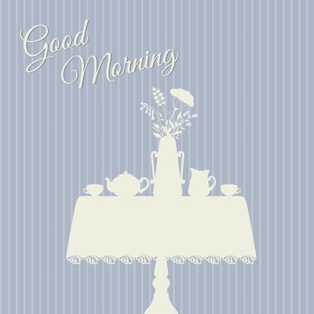 Good morning. Table served for breakfast vector illustration