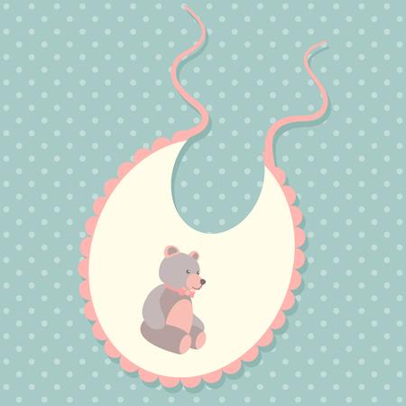 baby bear: Baby bib vector illustration with teddy bear Illustration
