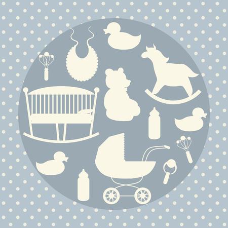 Baby care icons set. Rocking horse, teddy bear, stroller, duck, bib.
