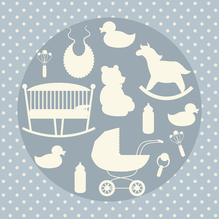 stroller: Baby care icons set. Rocking horse, teddy bear, stroller, duck, bib.