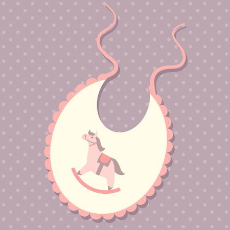 Baby bib vector illustration with rocking horse Vector
