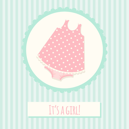 Baby shower invitation card template with dress