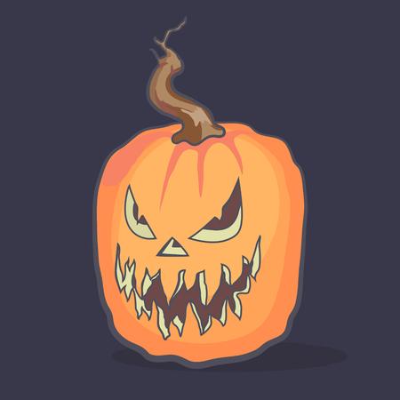 backgrouns: Laughing Halloween pumpkin against dark backgrouns. Vector illustration