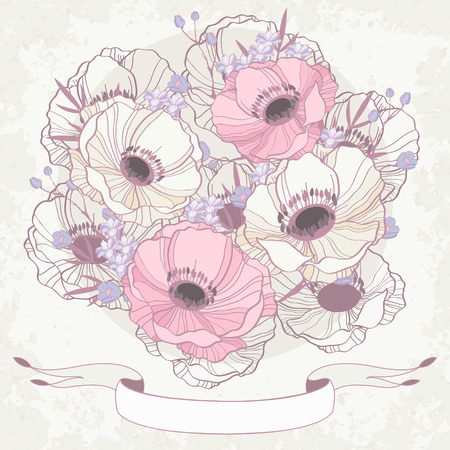 Anémona tarjeta de invitación floral de fondo