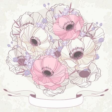 anemone: Anemone floral background invitation card