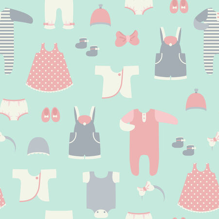 Baby clothes. Seamless vector background. Vector