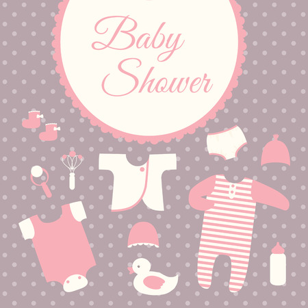 bodysuit: Baby shower invitation card template with baby clothes Illustration