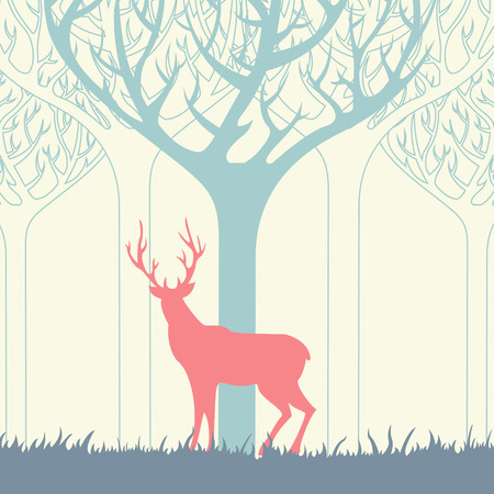Deer silhouettes in forest landscape Illustration