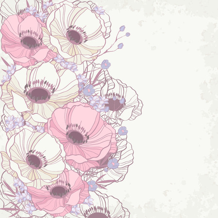 Beautiful floral background with anemones