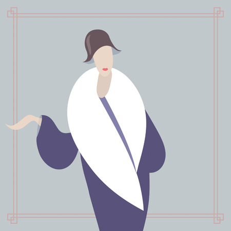 Art deco style woman. Card template with rectangular frame Vector