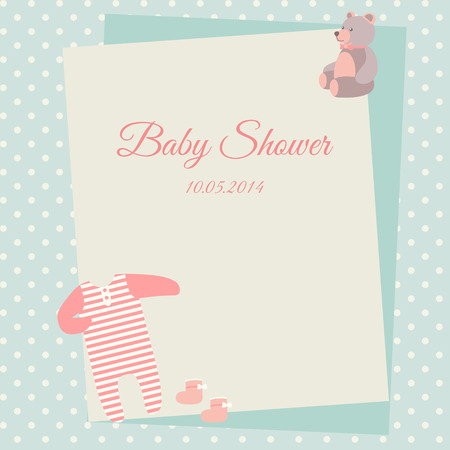 bodysuit: Baby shower invitation card template with bodysuit and teddy bear
