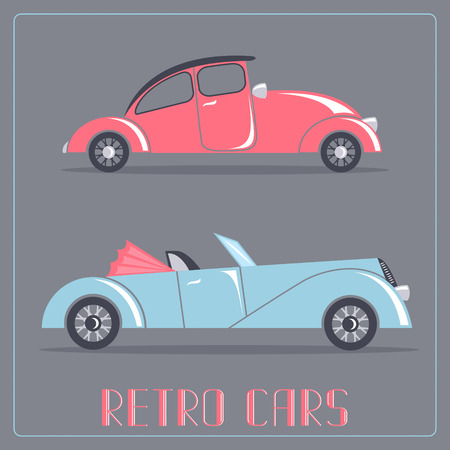 roadster: Red and blue cars. Retro transportation