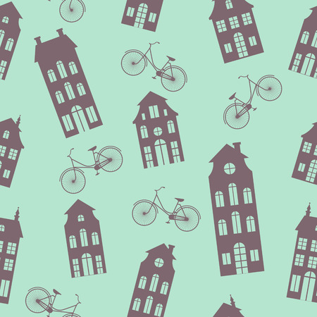 dutch landmark: Amsterdam houses and bicycles seamless pattern