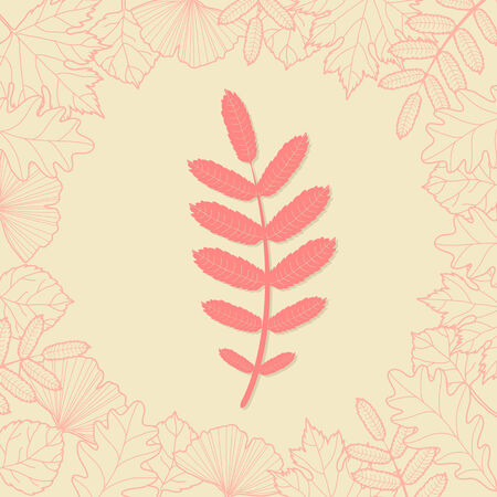Autumn background with red leaf Vector