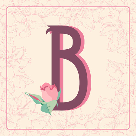 initials: Vintage style  letter B with rose flowers in floral frame. Illustration