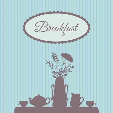 Table served for breakfast  vintage vector illustration Illustration
