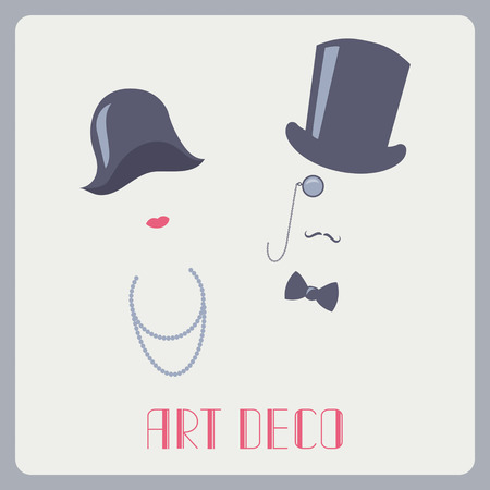 Art deco style lady and gentleman abstract portraits