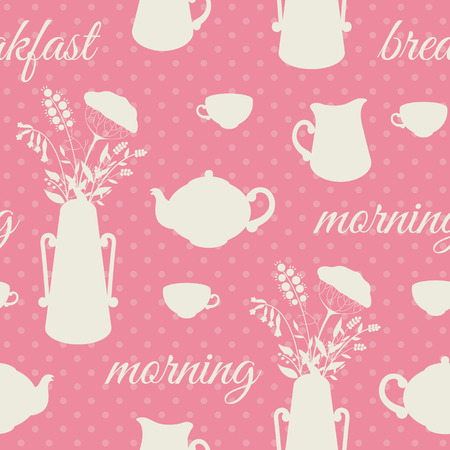 Breakfast seamless background with cups and tea pots Vector