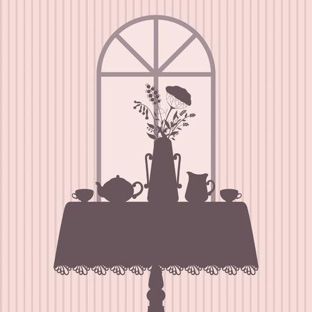 Table served for tea vintage vector illustration Vector