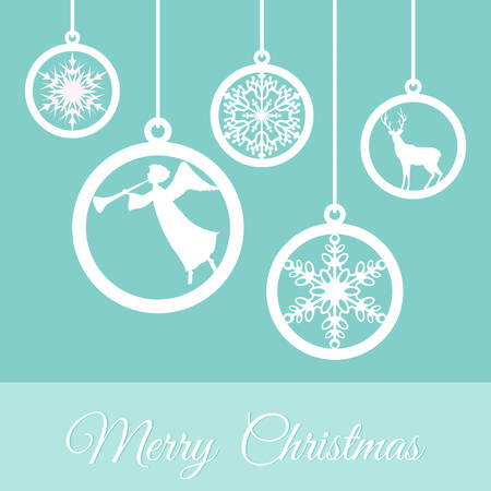 Christmas greeting card with ornaments Vector