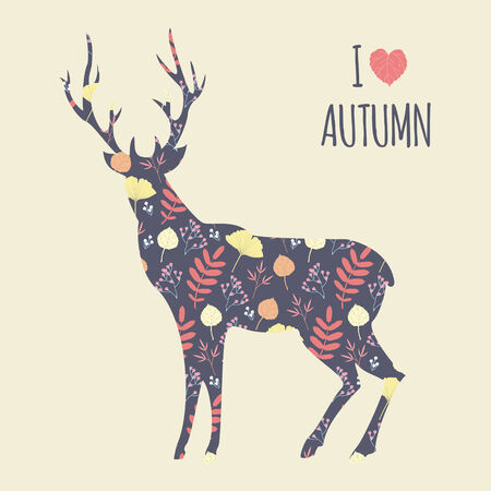 deer vector: I love autumn. Vector illustration with patterned deer silhouette