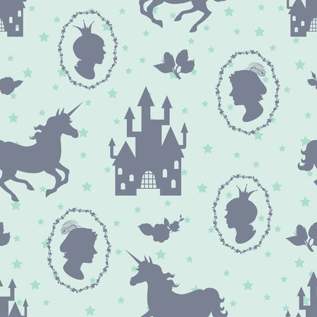 Fairy tale seamless background. Prince, princess, and unicorn silhouettes Vector